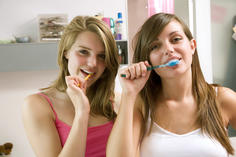 Girls brushing teeth, tooth brushing